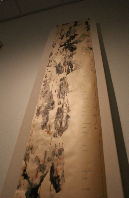 Michelle Fornabai's artwork uses ink on piano rolls. Credit: Leslie Yager